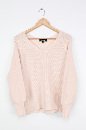 Cream Knit Sweater - Balloon Sleeve Sweater - V-Neck Sweater Top