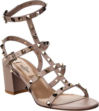 Rockstud Ankle Strap Leather Sandal
