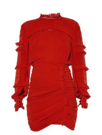 Red Long Sleeve Mini Dress