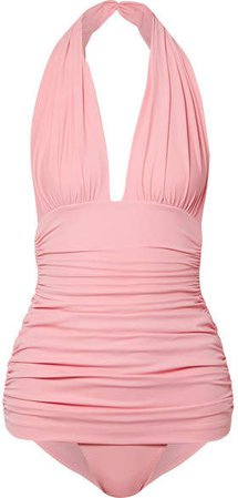 Bill Ruched Halterneck Swimsuit - Baby pink
