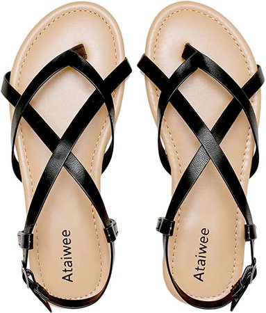 Ataiwee Womens Flat Sandals - Back Strappy Adjustable Buckle Open Toe Gladiator Thong Summer Shoes