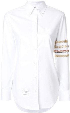 Classic Long Sleeve Button Down Point Collar Shirt With Jewelry 4-bar Applique In Oxford