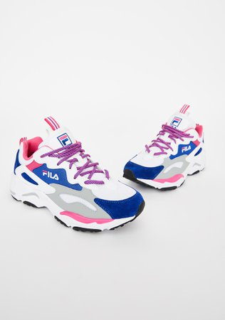 Fila White N Blue Ray Tracer Sneakers | Dolls Kill