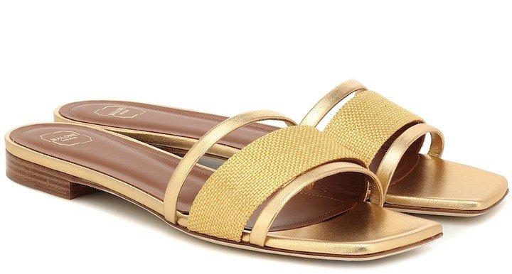 Demi raffia and leather sandals
