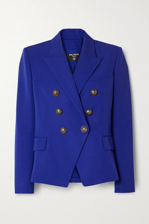 Double-breasted Wool Blazer - Royal blue