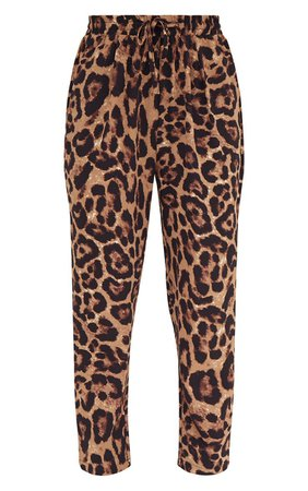 Brown Leopard Print Casual Trouser | Trousers | PrettyLittleThing