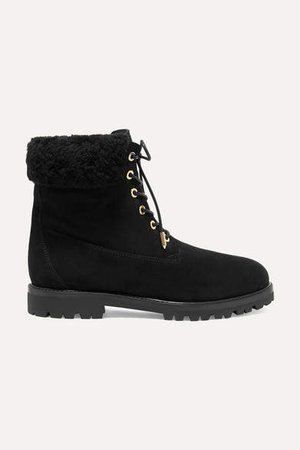 The Heilbrunner Shearling-trimmed Suede Ankle Boots - Black
