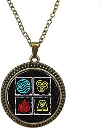Amazon.com: SunShine Day Fashion Necklace Avatar Last Airbender 4 Nations Fire Water Air And Earth On One Pendant Necklace Glass Cabochon Necklace A3960: Jewelry