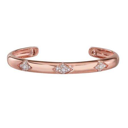 Classic Diamond Cuff in 14k Rose Gold by GiGi Ferranti