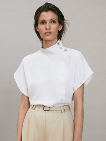 Blouse with shoulder buttons and placket - Women - Massimo Dutti