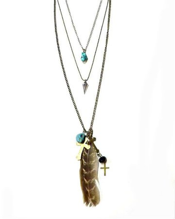 Triple Chain Feather and Skull Cross Necklace