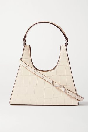 Cream Rey mini croc-effect leather tote   STAUD   NET-A-PORTER