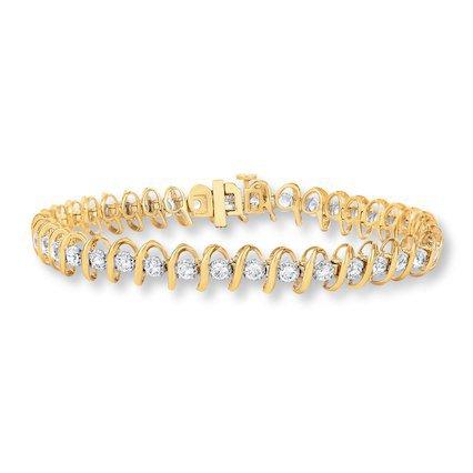 Jareds Diamond Yellow Gold Tennis Bracelet