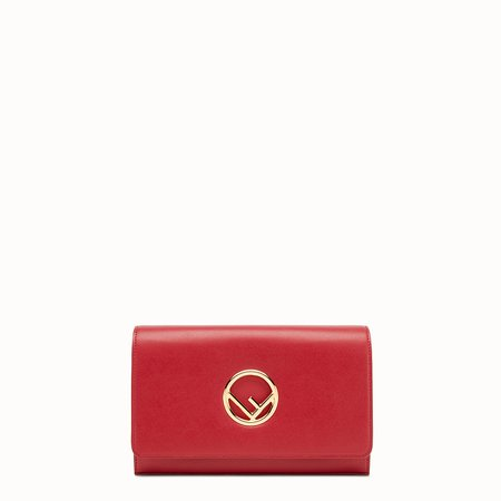 Mini-bag in red leather - WALLET ON CHAIN | Fendi