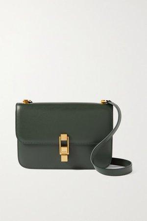 Le Carre Leather Shoulder Bag - Dark green