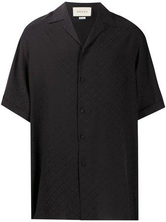 Black Gucci logo-jacquard silk shirt - Farfetch