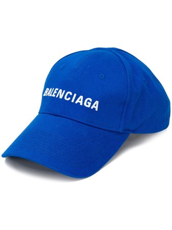 Balenciaga Embroidered Logo Baseball Cap 590758310B2 Blue | Farfetch