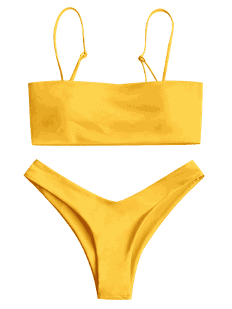 High Cut Cami Bikini Set YELLOW: Bikinis S | ZAFUL