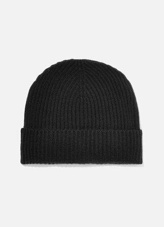 Black Ribbed cashmere beanie | Johnstons of Elgin | NET-A-PORTER