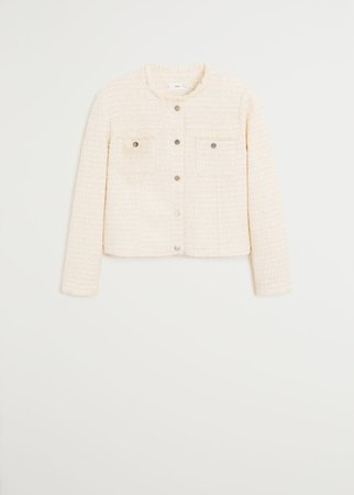 Buttons tweed blazer - Women   Mango USA
