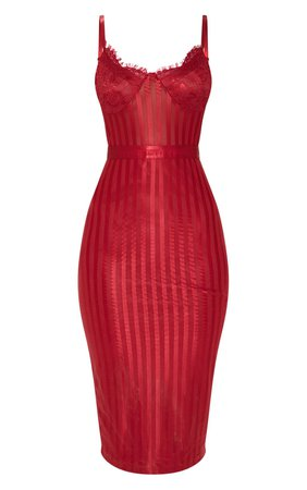 Deep Red Lace Detail Striped Mesh Midi Dress   PrettyLittleThing