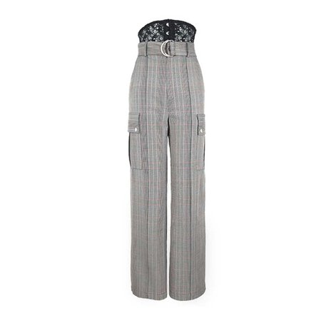 JESSICABUURMAN – KACOM Checkered Plaid Wide Leg Pants