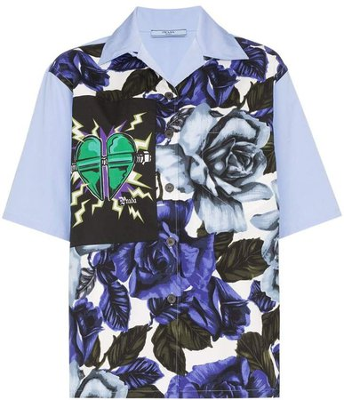 floral print heart patch shirt