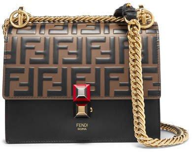 Kan I Small Embossed Leather Shoulder Bag - Black