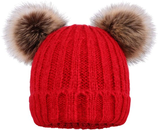 Arctic Paw Women Knit Beanie Cable Knit Faux Fur Pompom Beanie Hat Black Hat Black Ball at Amazon Women's Clothing store