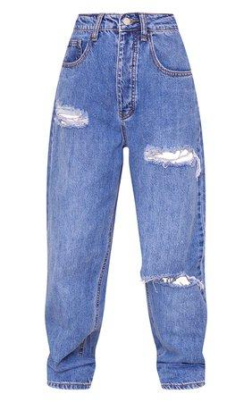 Plt Petite Light Blue Wash Boyfriend Jeans   PrettyLittleThing USA