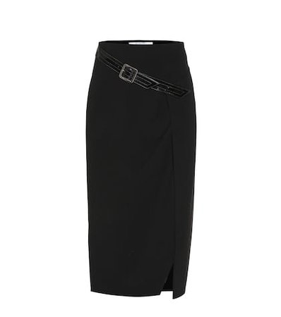 Belted wool skirt