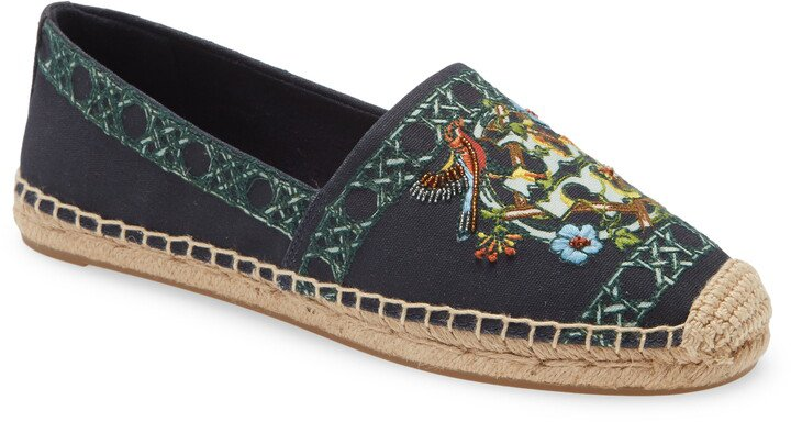 Beaded & Embroidered Canvas Espadrille