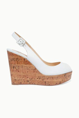 Plume Sling 100 Leather Slingback Wedge Sandals - White