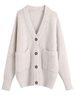'Briana' Oversized Buttoned Cardigan With Pockets - Goodnight Macaroon