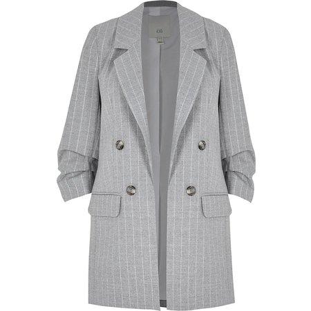 Grey stripe rouched sleeve blazer | River Island