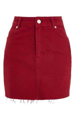 MOTO Red Denim Mini Skirt
