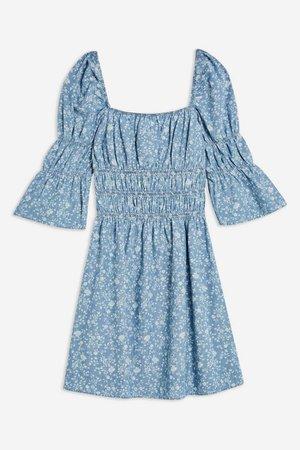 Shirred Floral Print Denim Dress | Topshop blue
