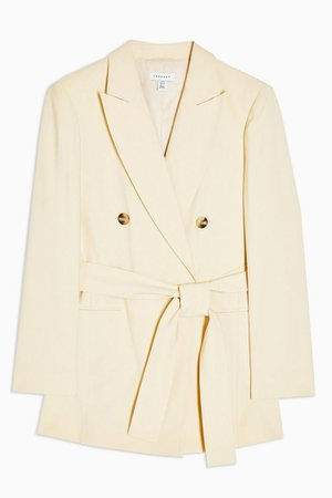 Yellow Double Breasted Belted Blazer | Topshop
