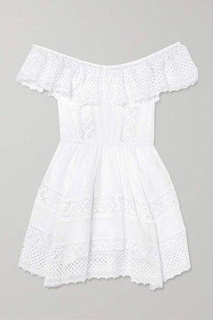 Vaiana Crocheted Lace-paneled Cotton-blend Mini Dress - White