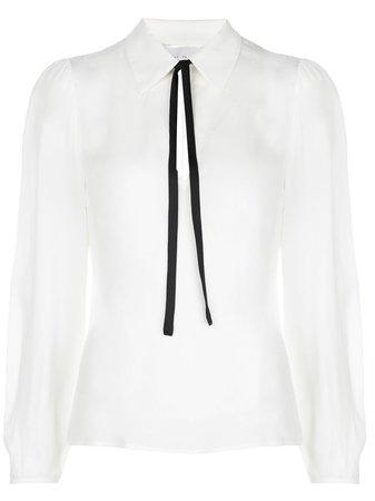 Shop white Fleur Du Mal neck-tie silk blouse with Express Delivery - Farfetch