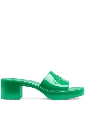 Shop green Gucci chunky-heel logo sandals with Express Delivery - Farfetch