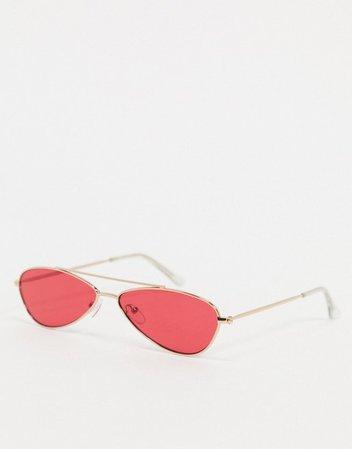 AJ Morgan Snippet aviator sunglasses in red | ASOS