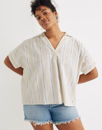 Park Popover Shirt in Textured Stripe