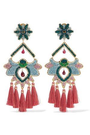 Mercedes Salazar | Tropics tasseled gold-tone beaded clip earrings | NET-A-PORTER.COM
