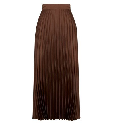 Dark Brown Pleated Satin Midi Skirt | New Look