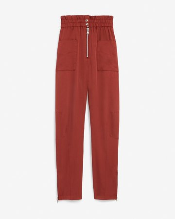High Waisted Patch Pocket Paperbag Ankle Pant | Express