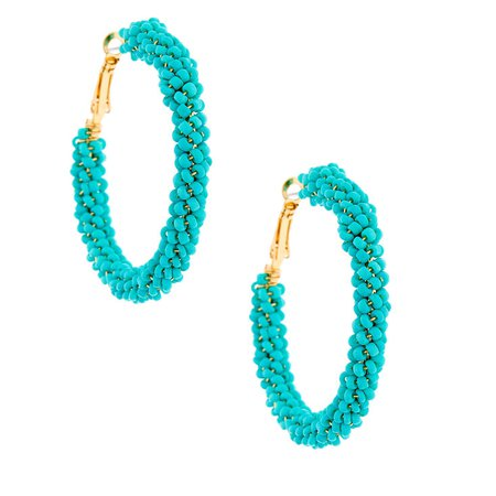 Gold 50MM Beaded Hoop Earrings - Turquoise | Claire's