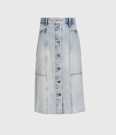 ALLSAINTS US: Womens Bonnie Denim Midi Skirt (indigo_blue)