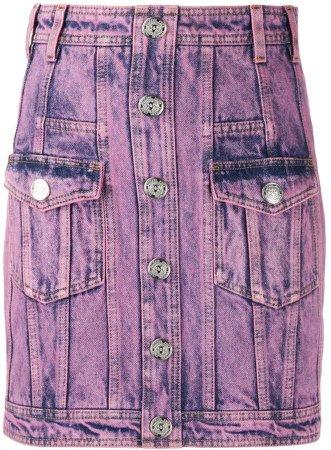 acid wash denim skirt