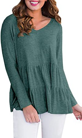 Babydoll Tunic Tops for Women Ruffle Cute Cotton Long Sleeve Tiered Tops Green S at Amazon Women's Clothing store
